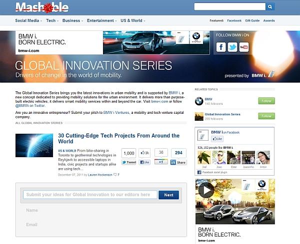 BMW i auf Mashable.com