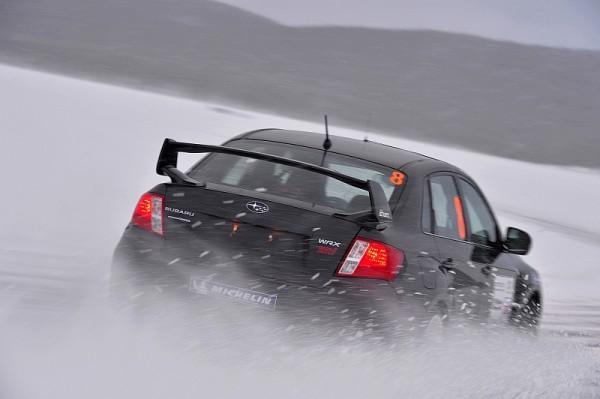 Michelin Winter Experience 2014 Subaru WRX STI Schwarz Spritz